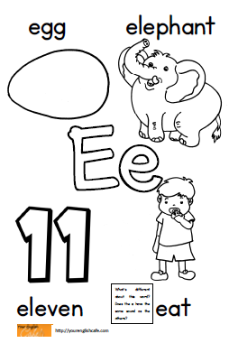 coloring page with Upper and Lower case E (also an introduction to ...