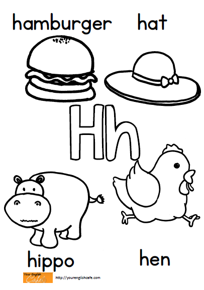 Coloring page with upper and lower case h