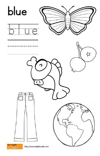 Worksheets For Preschoolers Color Blue : Blue coloring worksheets pre k pages